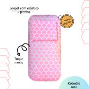 Kit lençol elástico infantil + fronha Colméia rosa