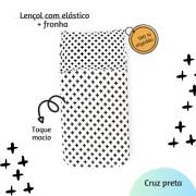 Kit lençol elástico infantil + fronha Cruz preta