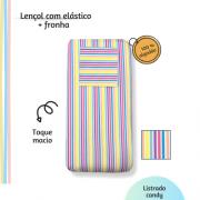 Jogo lençol de elástico solteiro estampa Listrado Candy