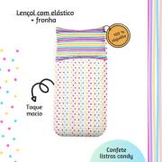 Kit lençol elástico infantil + fronha Listras candy