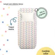 Lençol com elástico berço 70 x 130 cm Confete color