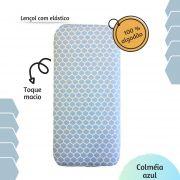 Lençol com elástico mini cama 70 x 150 cm Colmeia azul
