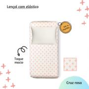 Lençol com elástico solteiro 88 x 188 cm  Cruz rosa