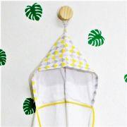 Toalha de banho infantil com capuz 100% algodão Losango amarelo