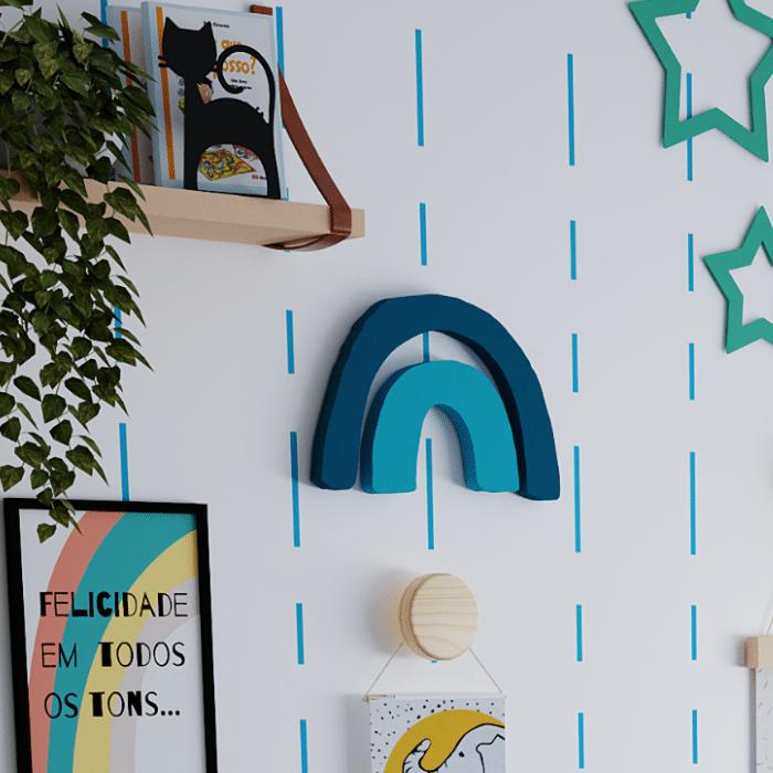 Aplique de parede decorativo arco íris azul