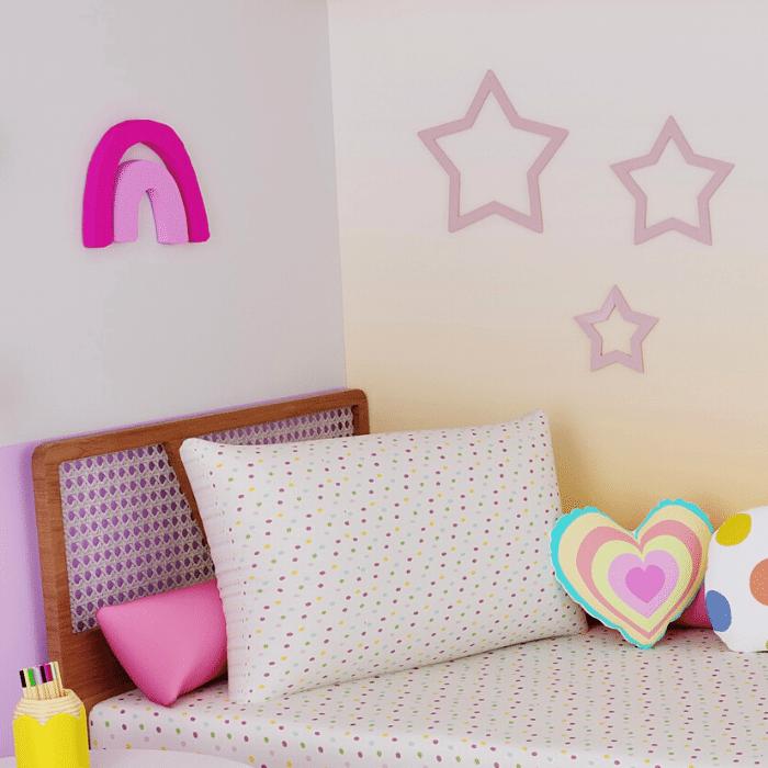 Aplique de parede decorativo arco íris rosa