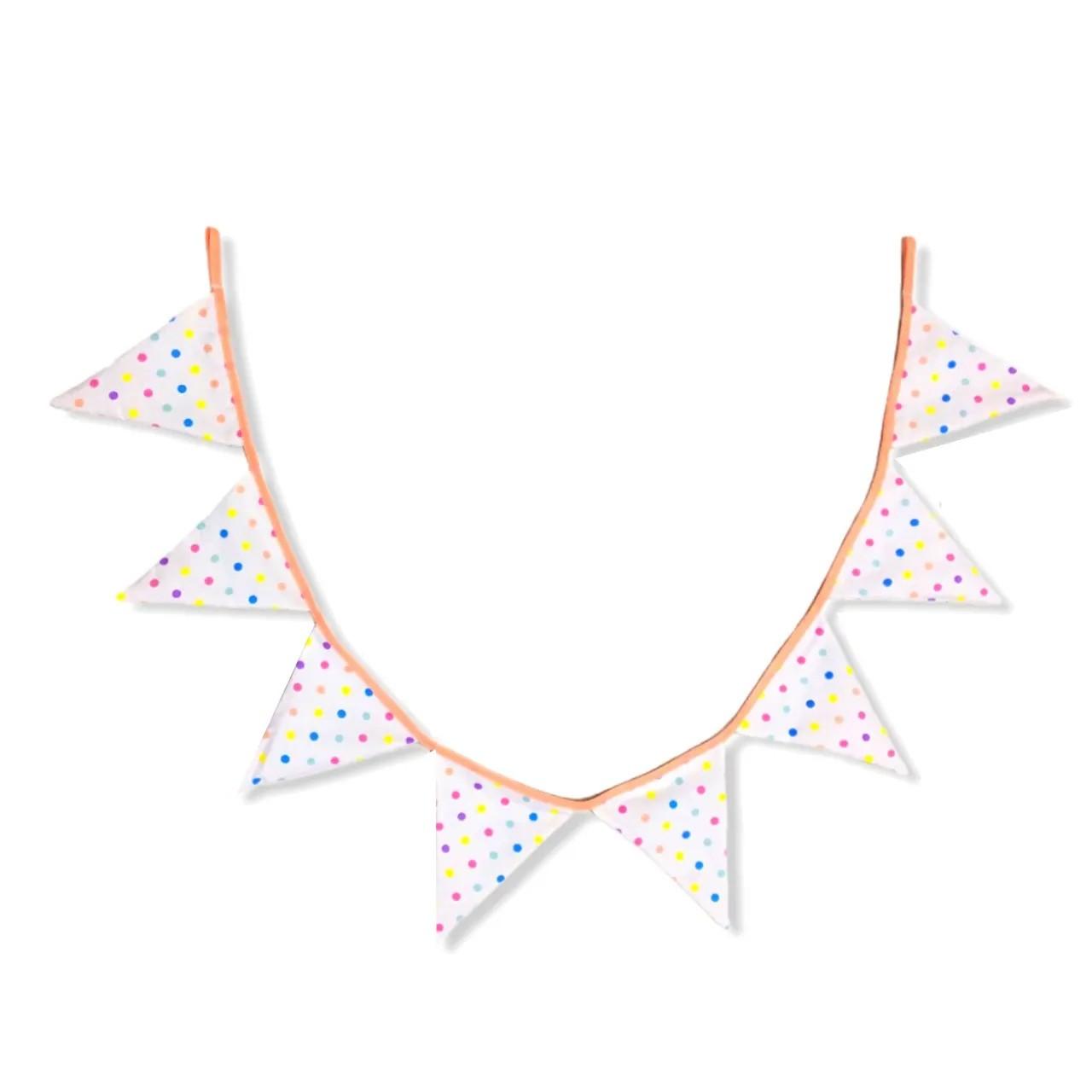 Bandeirola decorativa em tecido 100% algodão Confete candy