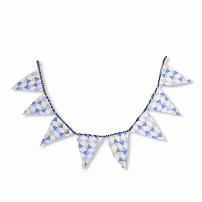 Bandeirola decorativa em tecido 100% algodão Losango azul