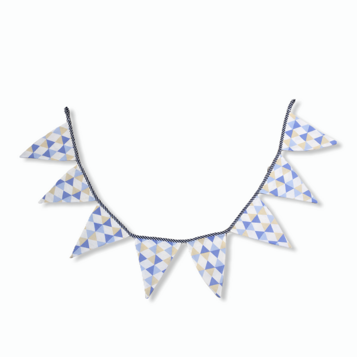 Bandeirola decorativa em tecido 100% algodão Losango azul   - Pomelo Decor