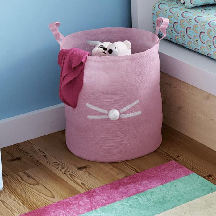 Cesto Organizador 40 x 35cm estampa coelho rosa