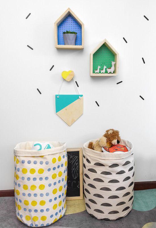 Cesto Organizador Infantil Gema azul tam 53 x 32 cm  - Pomelo Decor
