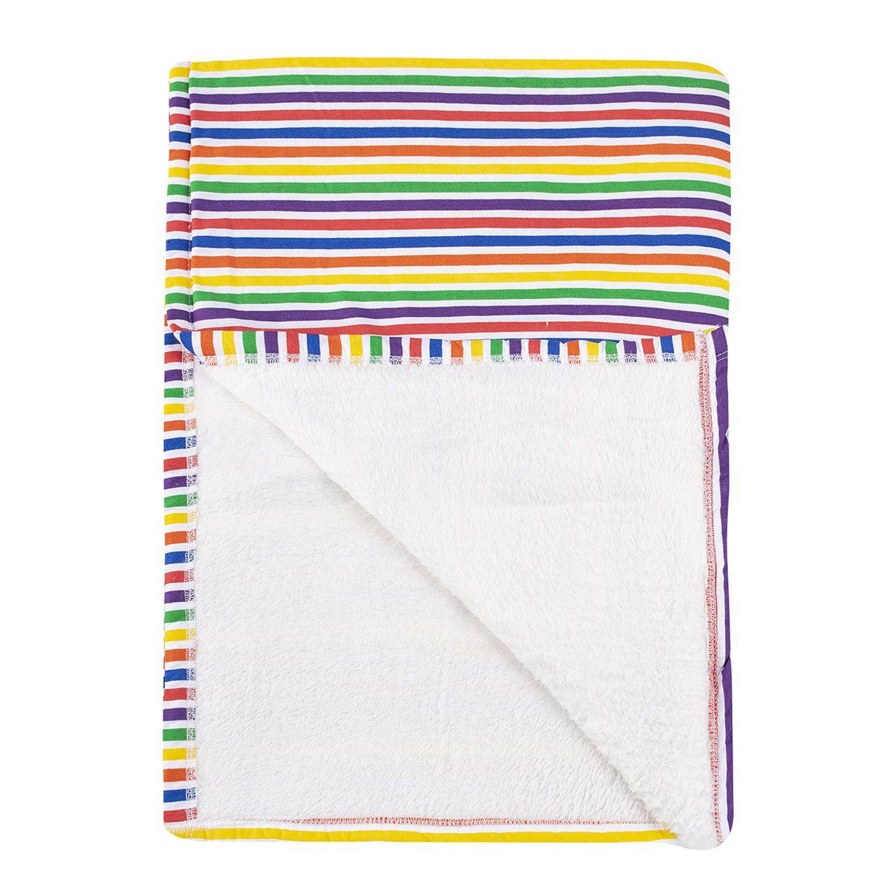 Cobertor infantil mini/berço Listras colorida 110 x 145 cm  - Pomelo Decor