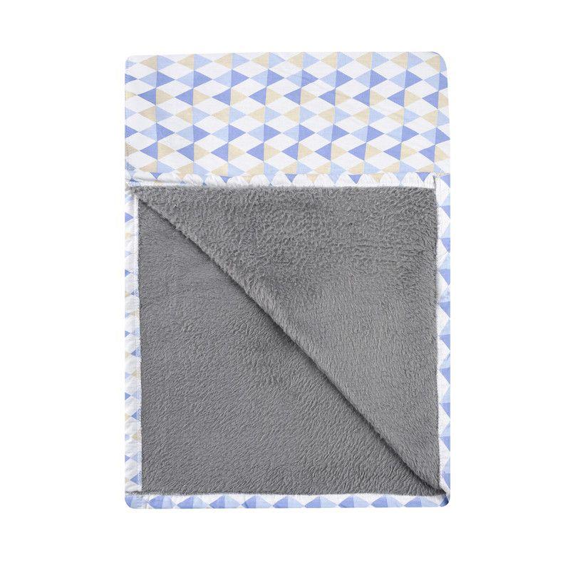 Cobertor para berço dupla face Losango azul