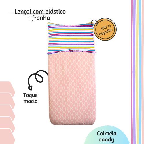 Kit lençol elástico infantil + fronha Colmeia candy
