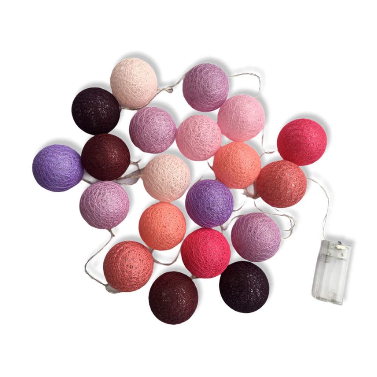 Cordão de Luz bolas para decoração Framboesa 2.20m - 20 bolas
