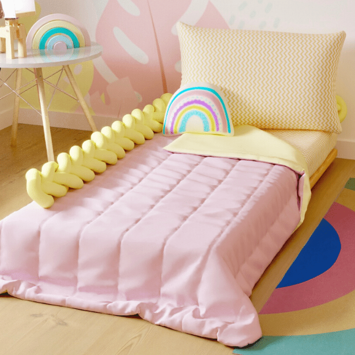 Edredom infantil solteiro dupla face 100% algodão rosa