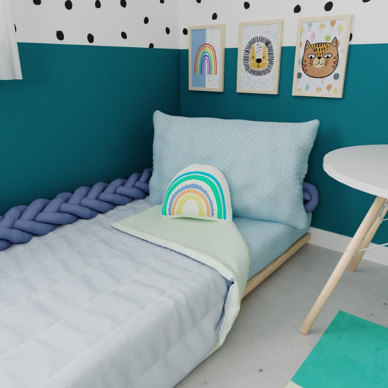 Edredom mini cama dupla face 100% algodão azul com verde