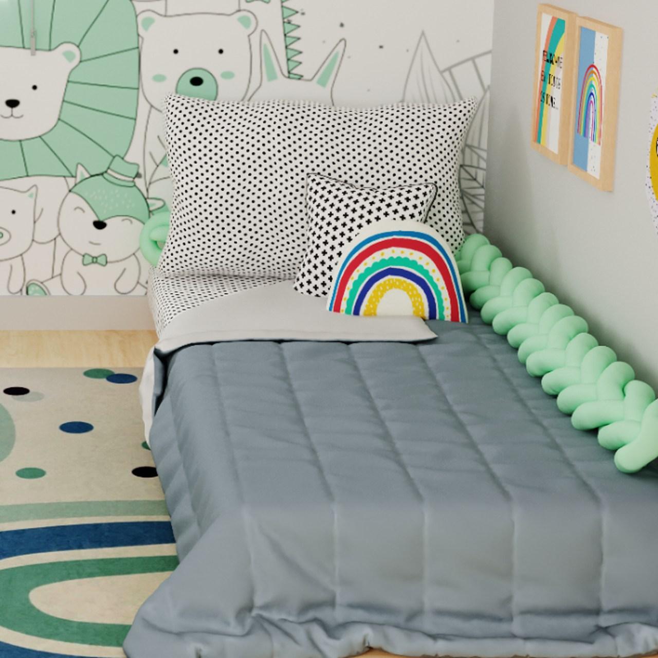 Edredom mini cama dupla face 100% algodão chumbo