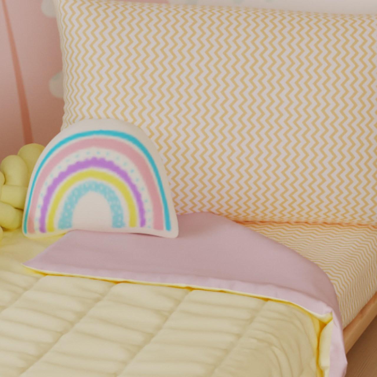 Edredom mini cama dupla face 100% algodão rosa com amarelo