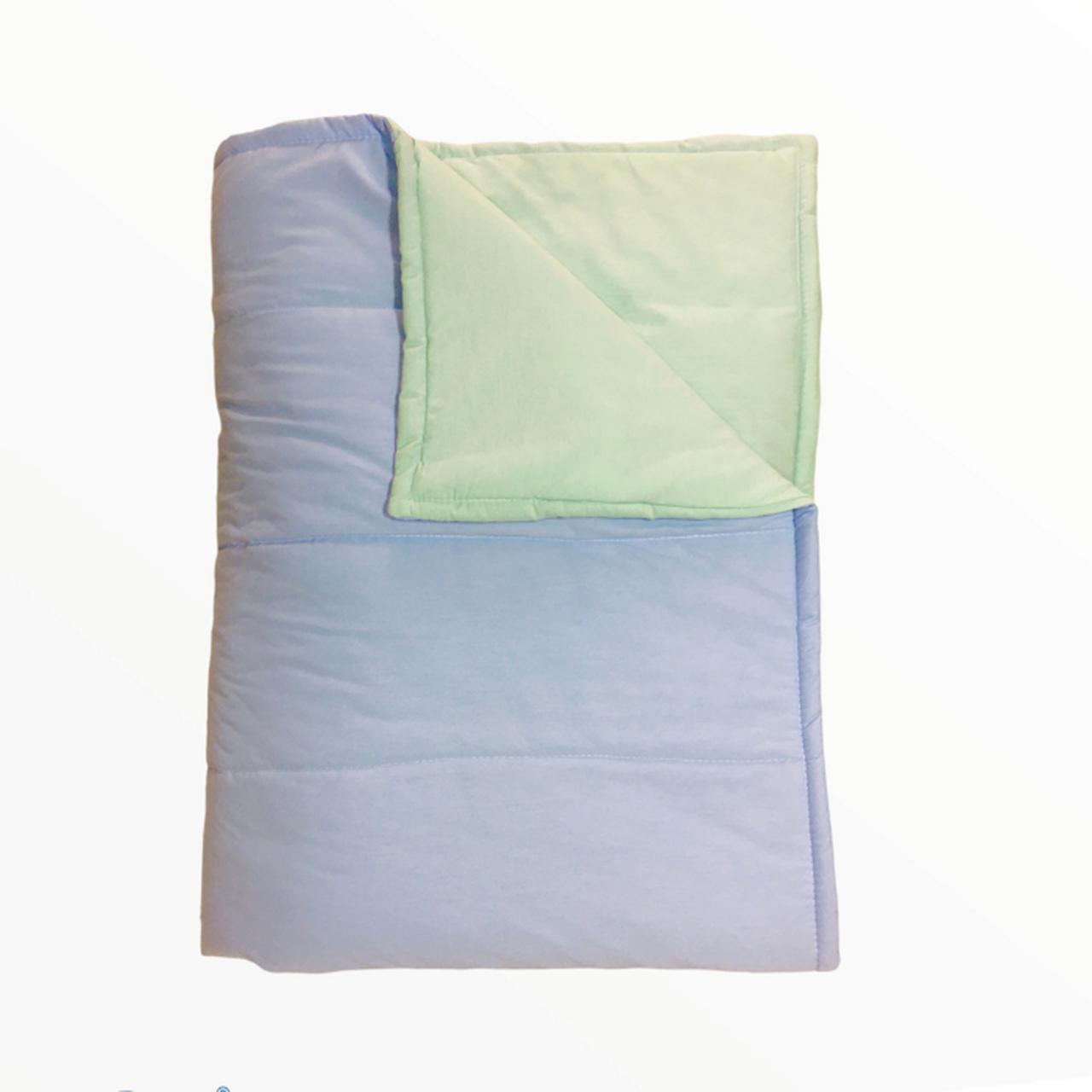 Edredom solteiro dupla face 100% algodão azul com verde