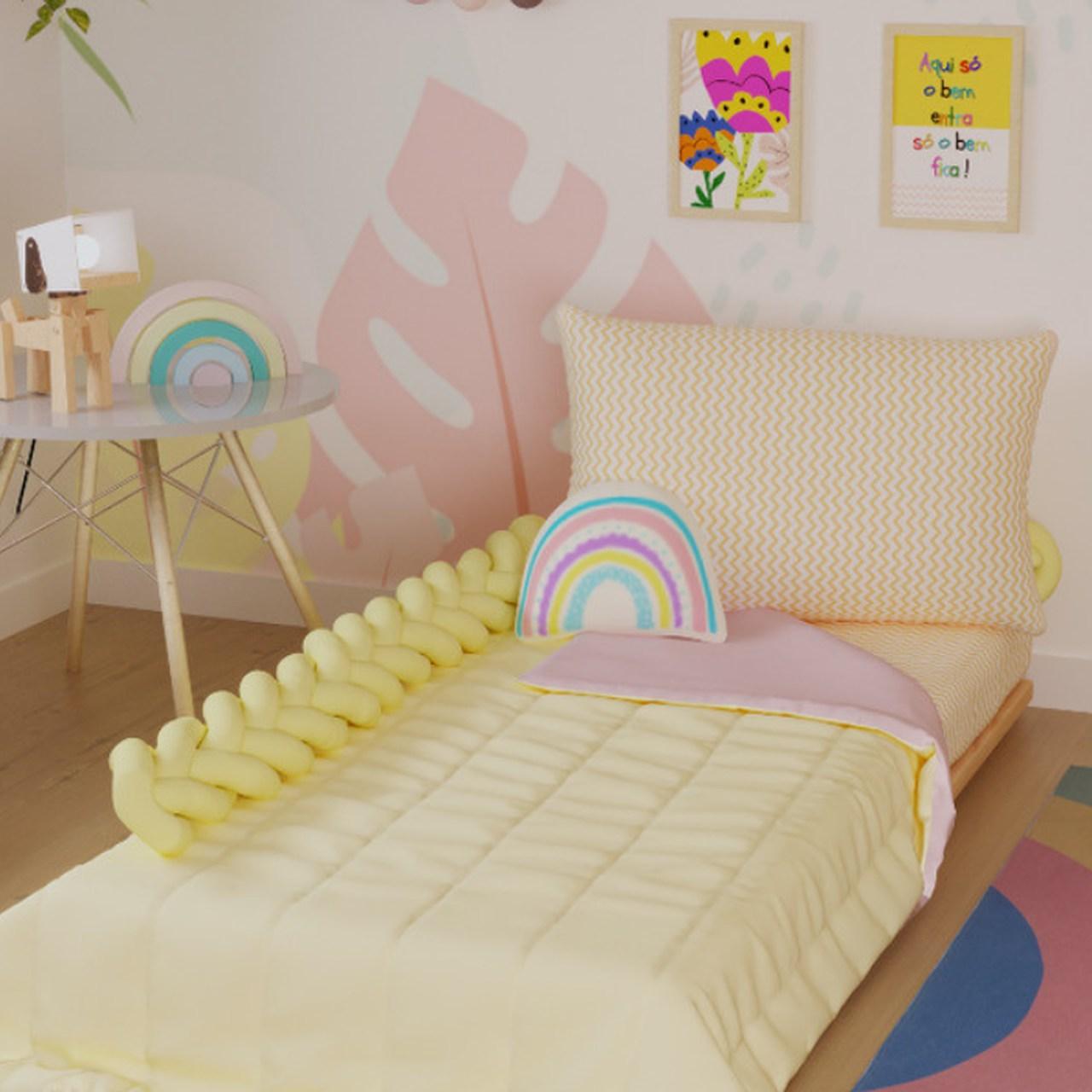 Edredom solteiro dupla face 100% algodão rosa com amarelo