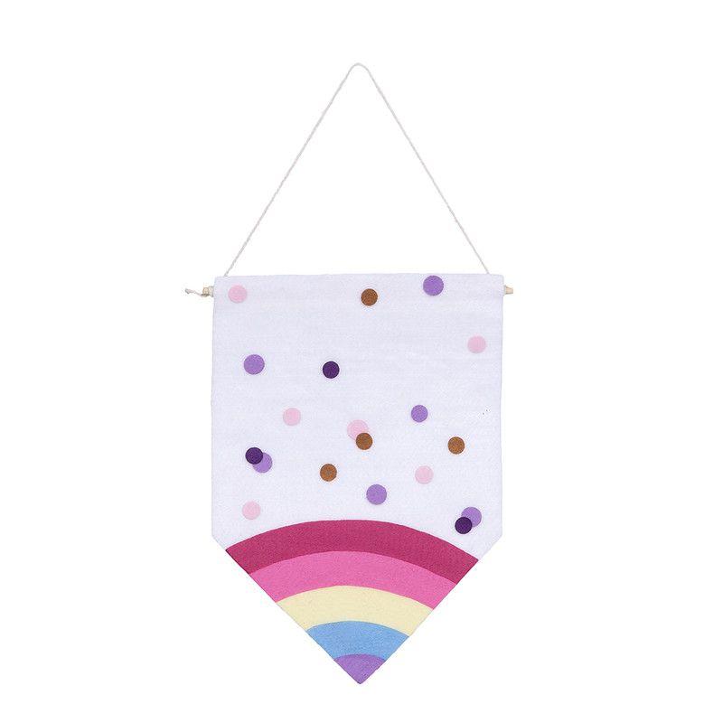 Flâmula de feltro decoração infantil 24 x17 cm Arco íris