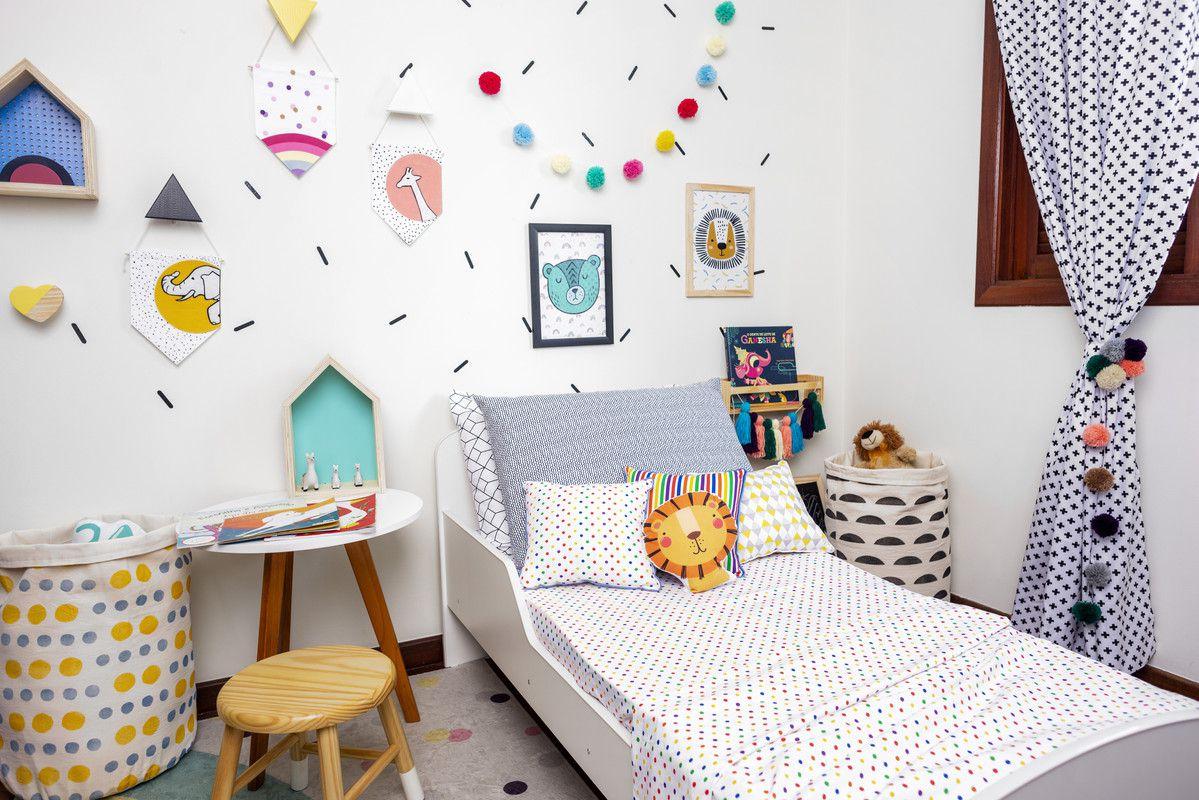 Flâmula de feltro decoração infantil 24 x17 cm Arco íris  - Pomelo Decor