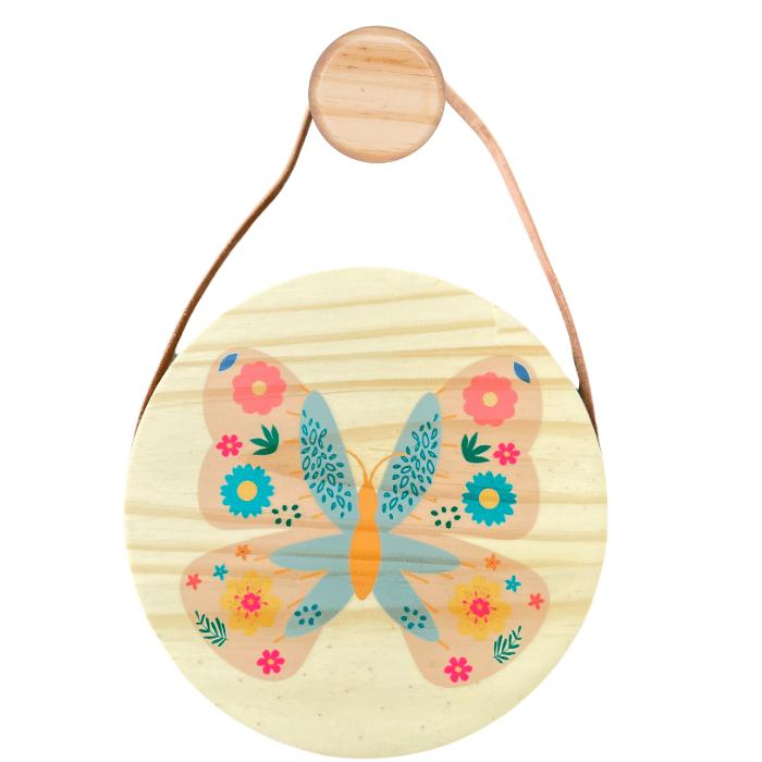 Flâmula decoração infantil 20 x 20 cm Borboleta
