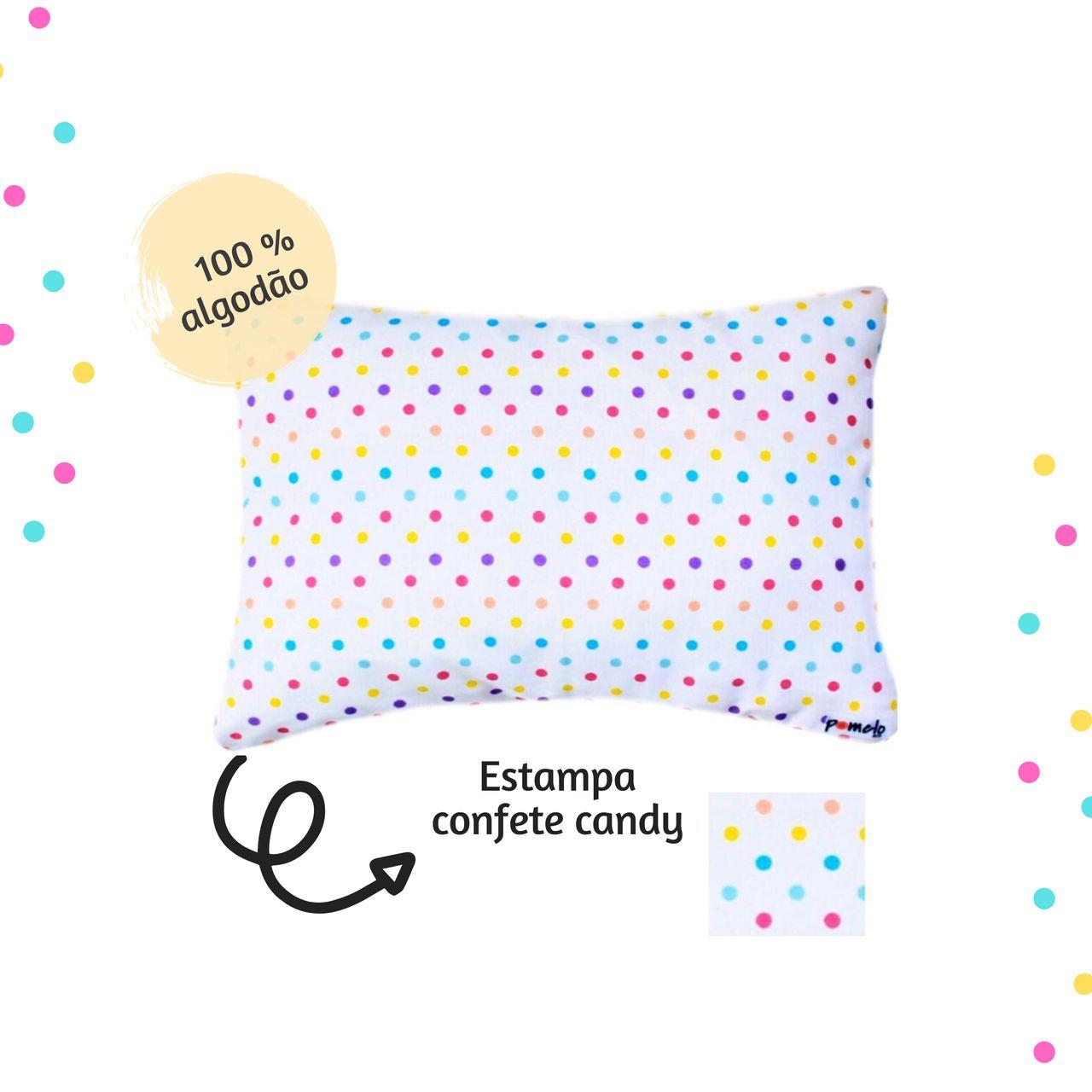 Fronha avulsa berço tamanho 30 x 40 cm Confete Candy  - Pomelo Decor