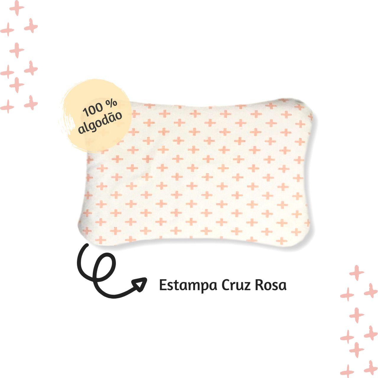 Fronha avulsa berço tamanho 30 x 40 cm  Cruz rosa  - Pomelo Decor