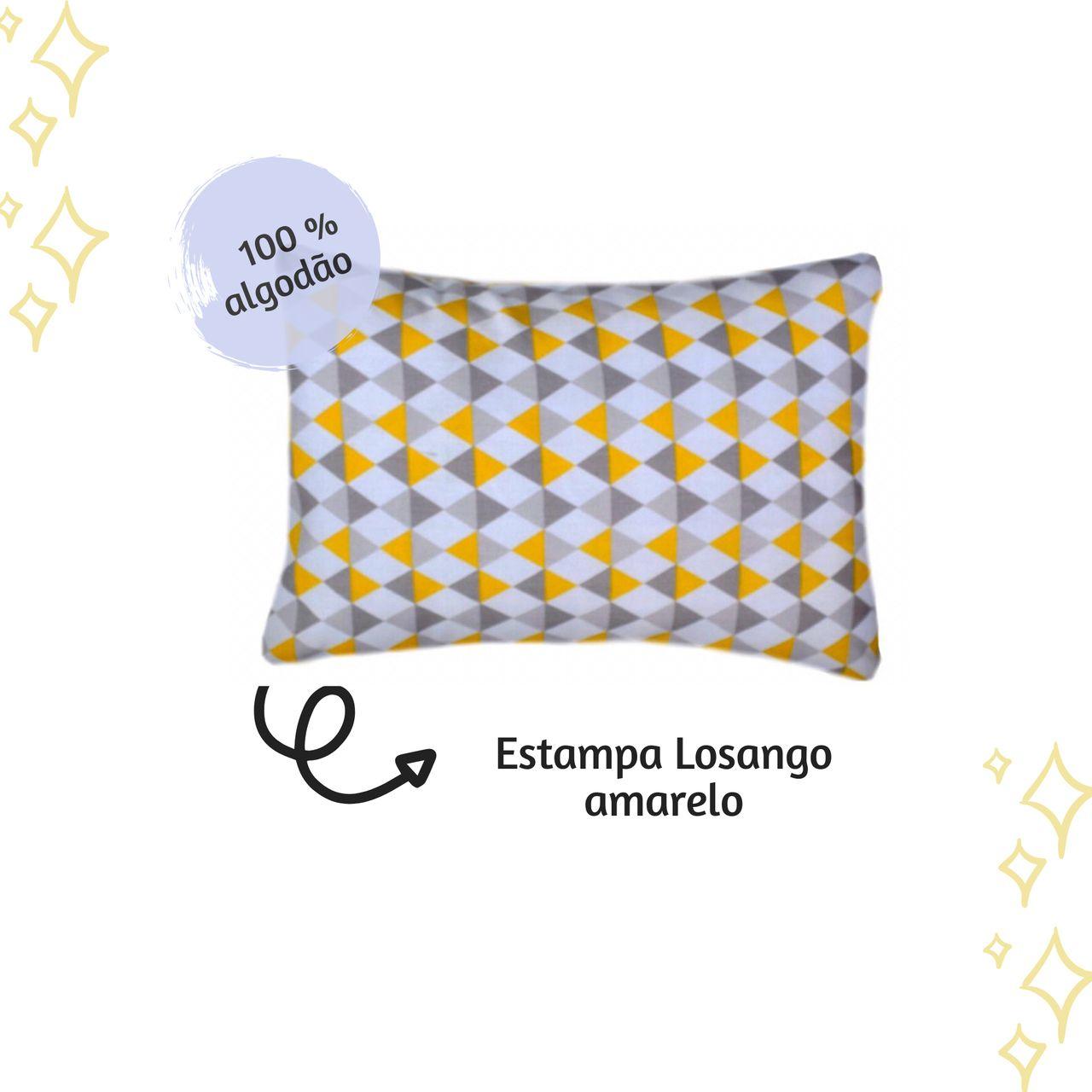 Fronha avulsa berço tamanho 30 x 40 cm Losango Amarelo