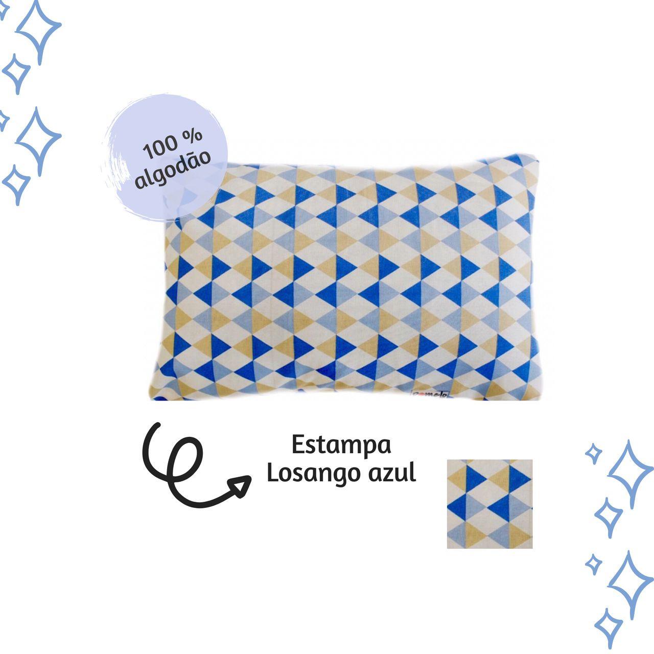 Fronha avulsa berço tamanho 30 x 40 cm Losango Azul