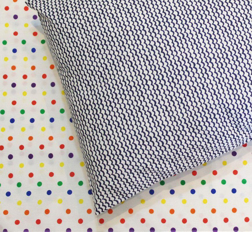 Fronha avulsa berço tamanho 30 x 40 cm Ondinhas  - Pomelo Decor