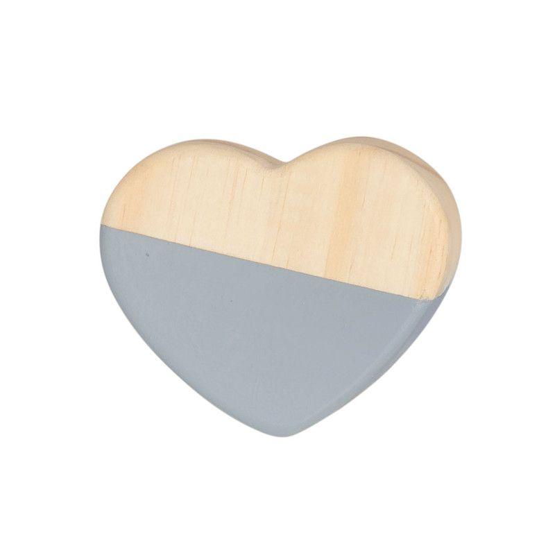 Gancho de parede cabideiro 10 x 7 x 10 cm coração cor cinza  - Pomelo Decor