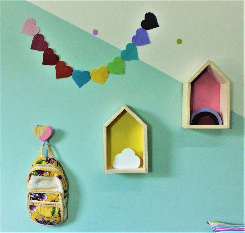 Gancho de parede cabideiro 10 x 7 x 10 cm coração cor rosa tutti  - Pomelo Decor