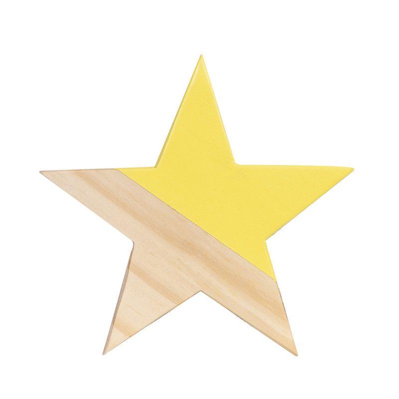 Gancho de parede cabideiro estrela 10 x 7 x 10 cm cor amarelo