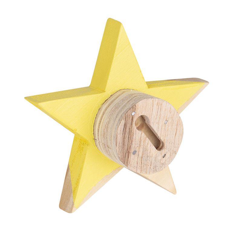 Gancho de parede cabideiro estrela 10 x 7 x 10 cm cor amarelo  - Pomelo Decor