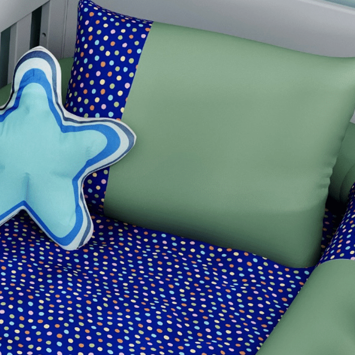Jogo de berço completo estampa confete marinho