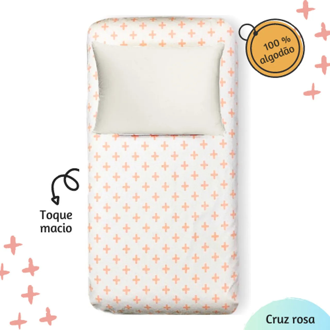 Jogo de lençol berço estampa Cruz rosa