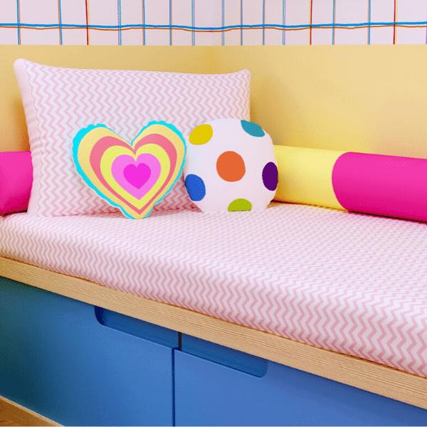 Jogo de lençol mini cama 100% algodão chevron rosa