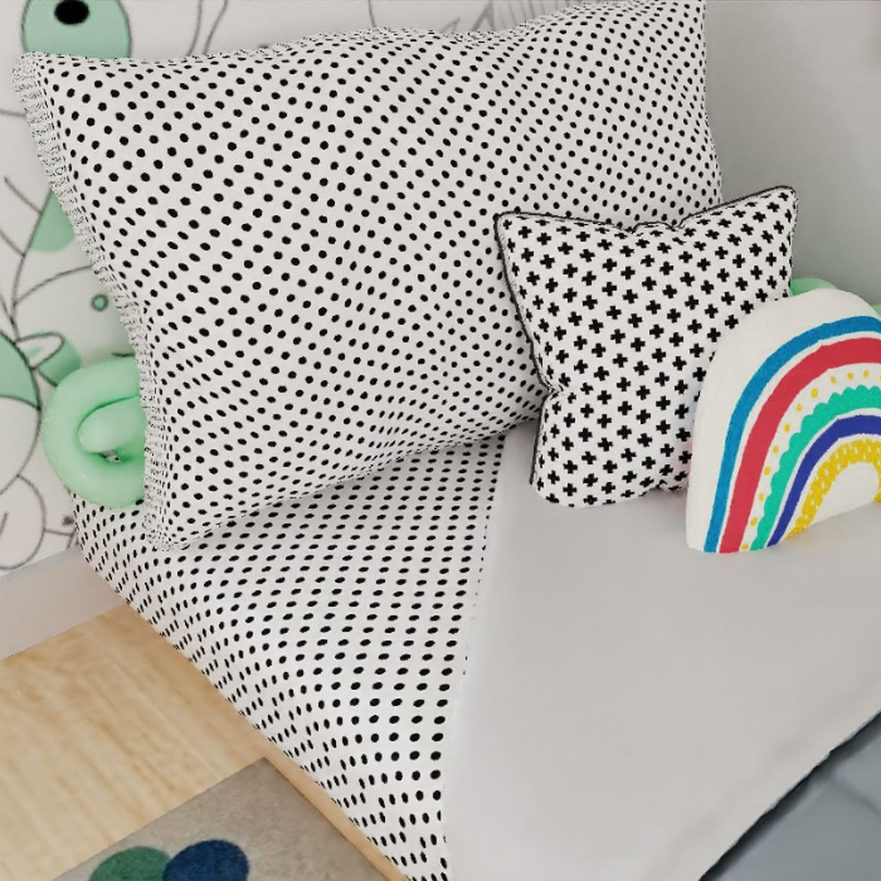 Jogo de lençol mini cama 100% algodão confete black