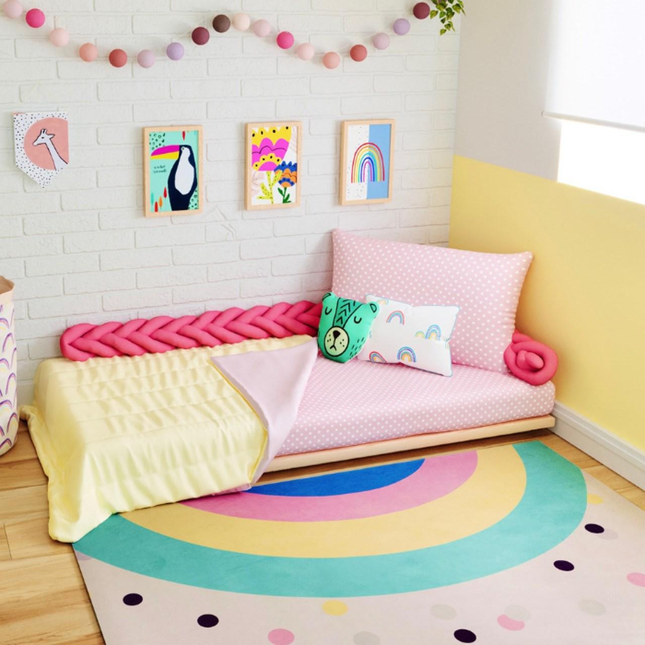 Jogo de lençol mini cama 100% algodão confete rosa