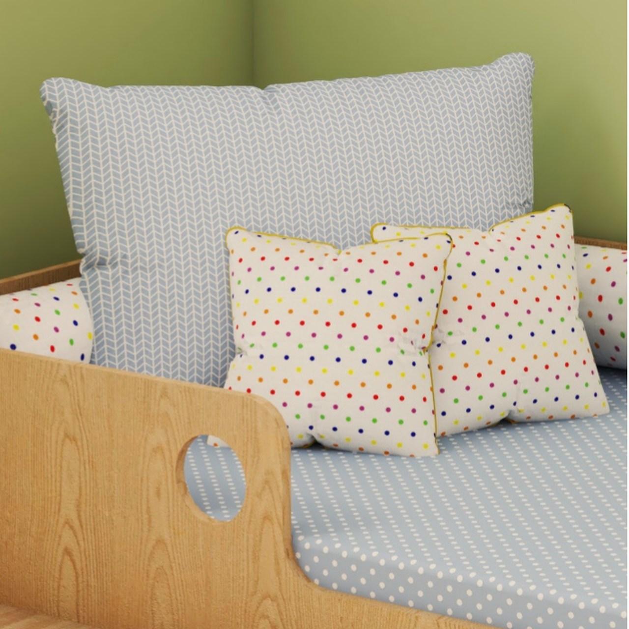Jogo de lençol mini cama 100% algodão confete trama blue