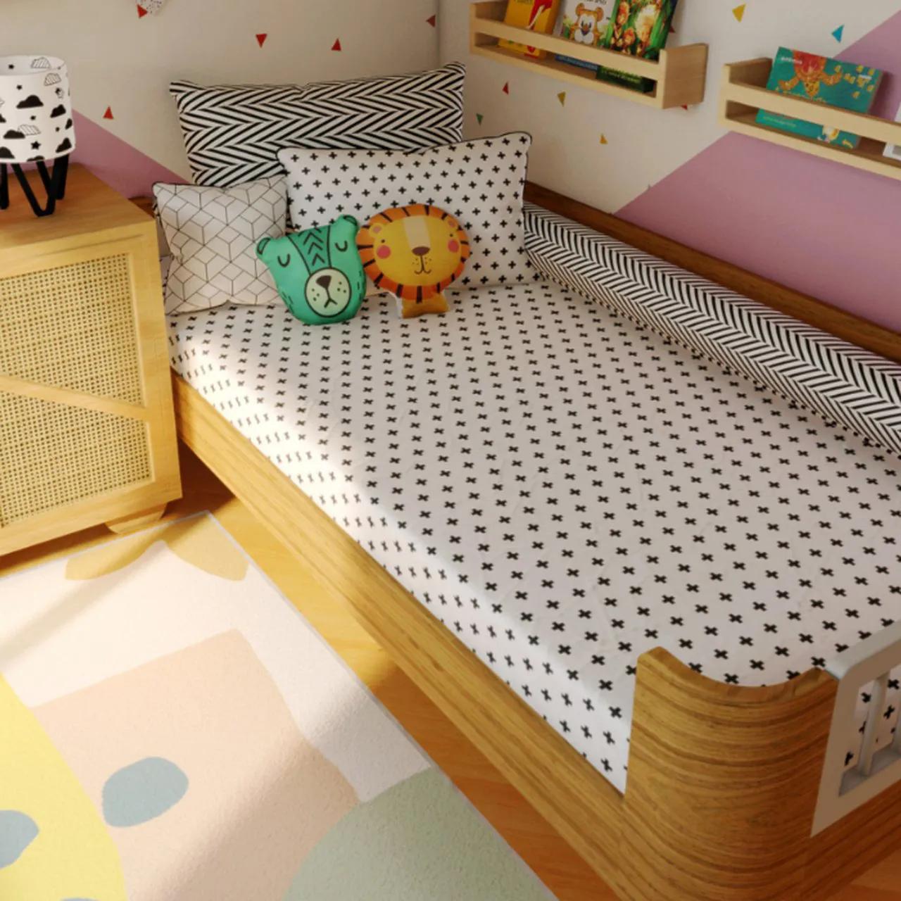 Jogo de lençol mini cama 100% algodão Cruz chevron 70 x 150cm
