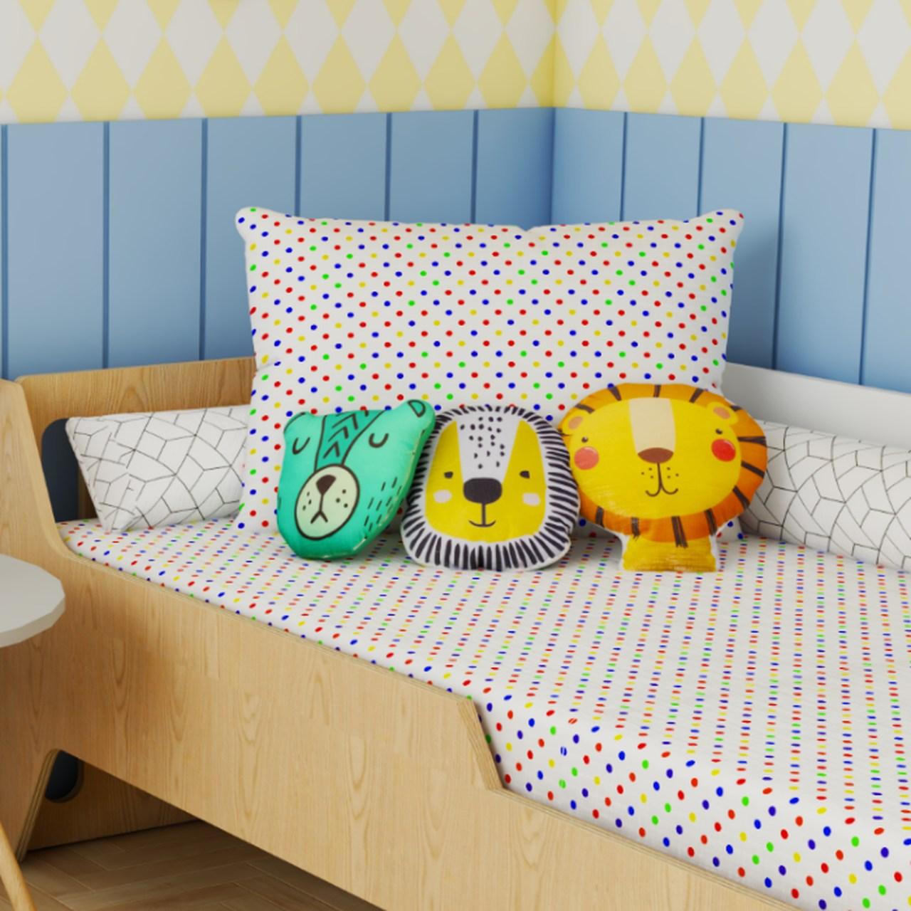 Jogo de lençol mini cama 100% algodão estampa Confete color