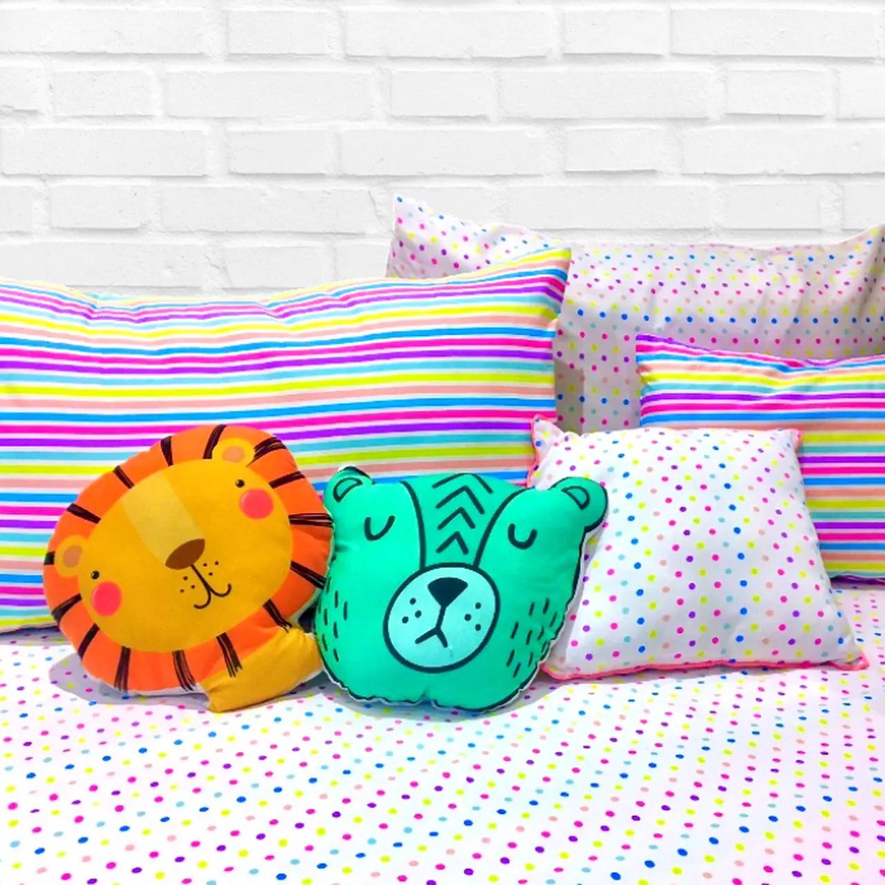 Jogo de lençol mini cama 100% algodão estampa Listrado candy