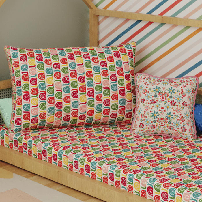Jogo de lençol mini cama 100% Caracol colorido