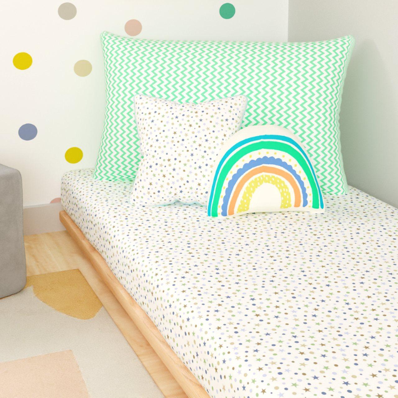 Jogo de lençol mini cama 100% estrelado com zig zag