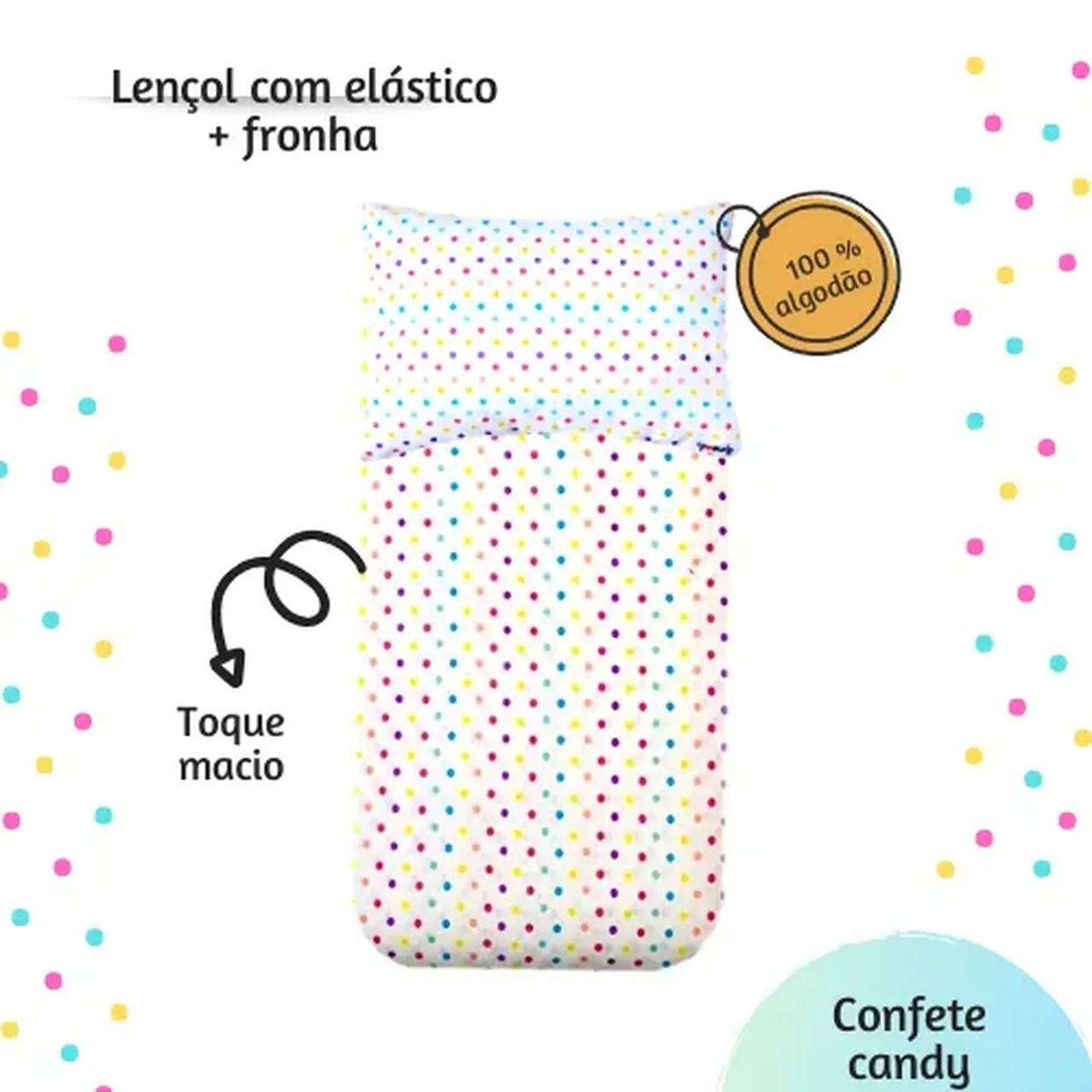 Jogo de lençol mini cama 100% algodão estampa Confete candy
