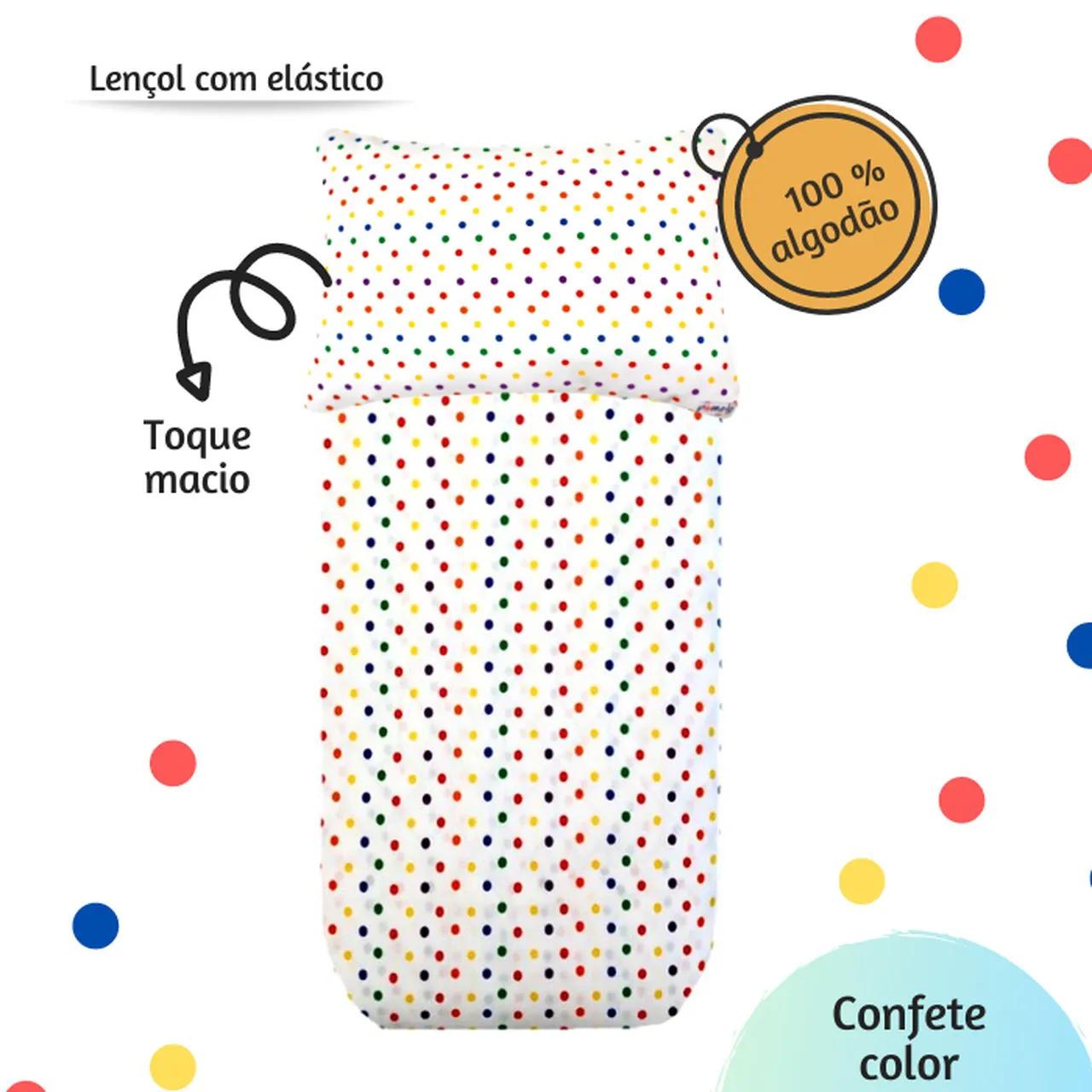 Jogo de lençol mini cama estampa Confete color  - Pomelo Decor